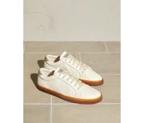 Sneakers aus genarbtem Leder mit Sohle aus Latex