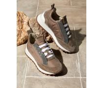 Sneakers aus Veloursleder und Taft