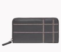"""Brunello Cucinelli Brieftasche - Geldbörse """"Embroidery"""" Aus Glattem Kalbsleder Mit Detail Aus Metallfäden"""