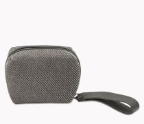 Brunello Cucinelli Tasche - Clutch Cube Aus Shiny Diagonal Flanel Und Glattem Kalbsleder