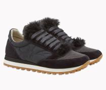 Brunello Cucinelli Sneaker - Runners Aus Wildleder, Kaschmirfell Und Satin Mit Shiny Detail