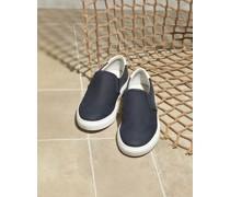 Slip-on-Sneakers aus Nubukleder und Canvas
