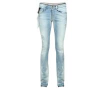 'Sophie' Slim-Fit Jeans in Used-Optik Stonewashed Blue
