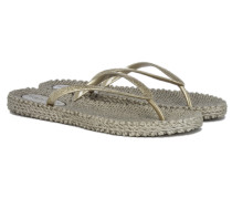 CHEERFUL Glitter Flip Flops in Gold
