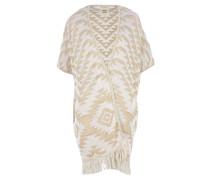 Strickjacke mit Azteken-Muster in Beige-Weiß