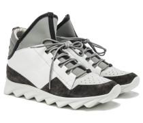 DEDALO Sneakers Leder-Mix in Weiß-Grau