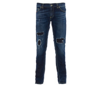 RAMONES Super Skinny Fit Jeans Used-Look in Blau