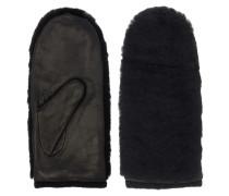 Handschuhe aus Leder und Fake-Fur in Schwarz