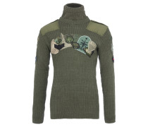 UPCYCLED POLO NECK Strickpulli in Olive