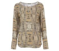 MINDA Tunika Bluse mit Print Muster Beige