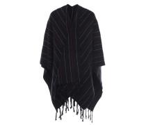 Woll-Poncho in Schwarz mit Musterung