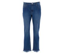 Jeans mit Fransen in Blau