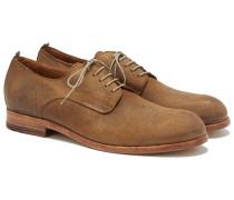 Derby Schuhe aus Rauleder in Vintage Optik Camel-Braun