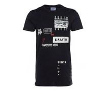 FRAKTAL langes T-Shirt mit Print in Schwarz