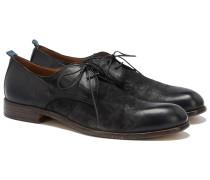 2-Loch Derby Schuhe aus Leder in Schwarz