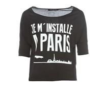 Paris kurzes T-Shirt mit Frontprint Schwarz