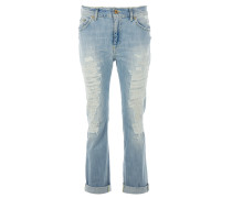 PAIGE Boyfriend-Jeans Destroyed in Lightblue
