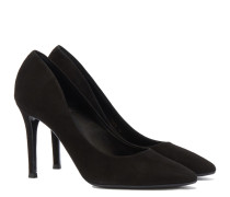Veloursleder Pumps in Schwarz