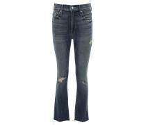 THE INSIDER CROP FRAY Jeans Used Optik in Blau
