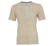 Ringel T-Shirt aus Leinen in Beige-Schwarz
