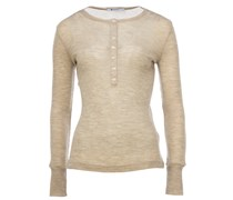 T by Alexander Wang Longsleeve in Rippstrick-Optik in Beige