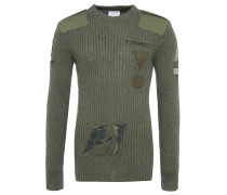 UPCYCLED ROUND NECK Strickpulli in Olive