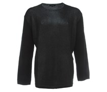 FLKCN1 Wollpullover mit Glanz-Beschichtung Schwarz
