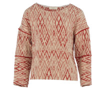 Ba&sh GABY BRIQUE Strick-Pullover mit Musterung in Creme-Rot