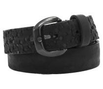 schmaler Ledergürtel mit Lochmuster in Schwarz