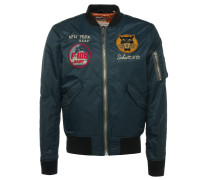 Bomberjacke mit Badges in Navy