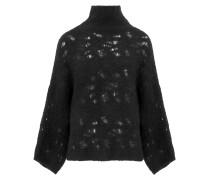 Strick-Pullover mit Fledermausärmeln in Schwarz