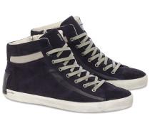 Midtop Sneakers aus Velours-Leder in Schwarz-Blau