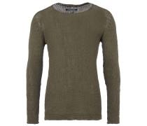 MELLE Grobstrick-Pullover in Khaki-Grün