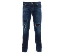 RAMONES Super Skinny Fit Jeans Used-Look in Blau