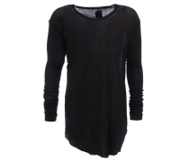 langes Longsleeve in Rippstrick-Optik in Schwarz