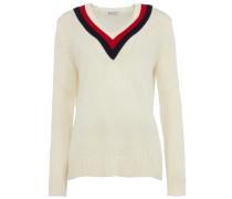 Strick-Pullover mit Chevron-Streifen in Weiß