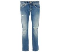 SEGOLENE Cropped Jeans Destroyed Optik Blau
