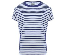 Gestreiftes T-Shirt mit Feinstrick-Rücken Blau