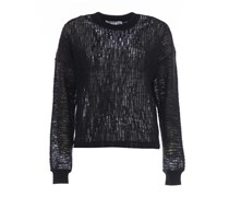 T By Alexander Wang Transparenter Pullover in Schwarz