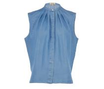 FEDORA hochgeschlossene Jeansbluse in Blau