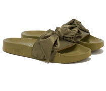 BOW SLIDE Pantoletten in Olive