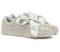 SUEDE HEART SATIN Sneakers in Gray-Violet