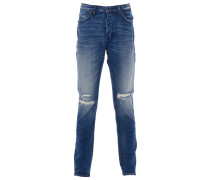 RAY TAPERED Jeans Used-Look Blau
