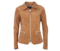 ALMERIA Hemdjacke aus Leder und Rippstrick Braun