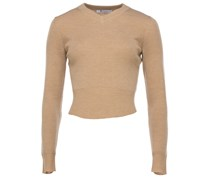 T by Alexander Wang kurzer Pullover in Rippstrick-Optik in Beige