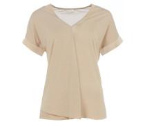 WINA V-Neck T-Shirt mit Falte Beige
