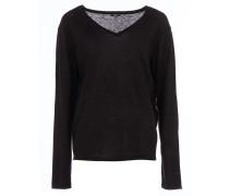 Feinstrick-Sweater mit V-Ausschnitt in Schwarz