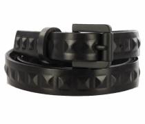 schmaler Ledergürtel mit Nieten in Schwarz