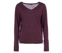 Feinstrick-Sweater mit V-Ausschnitt in Dunkellila
