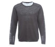 Leinen Feinstrick Pullover Grau